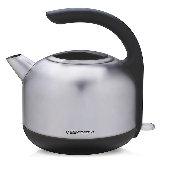 Ves H-100-SS электрический чайникH-100-SSЭлектрический чайник Ves H-100 прост в управлении и долговечен в использовании. Корпус выполнен из качественных материалов. Мощность 2200 Вт быстро вскипятит 1,7 литра воды. Беспроводное соединение позволяет вращать чайник на подставке на 360°. Для обеспечения безопасности при повседневном использовании предусмотрены функция автовыключения, а также защита от включения при отсутствии воды.