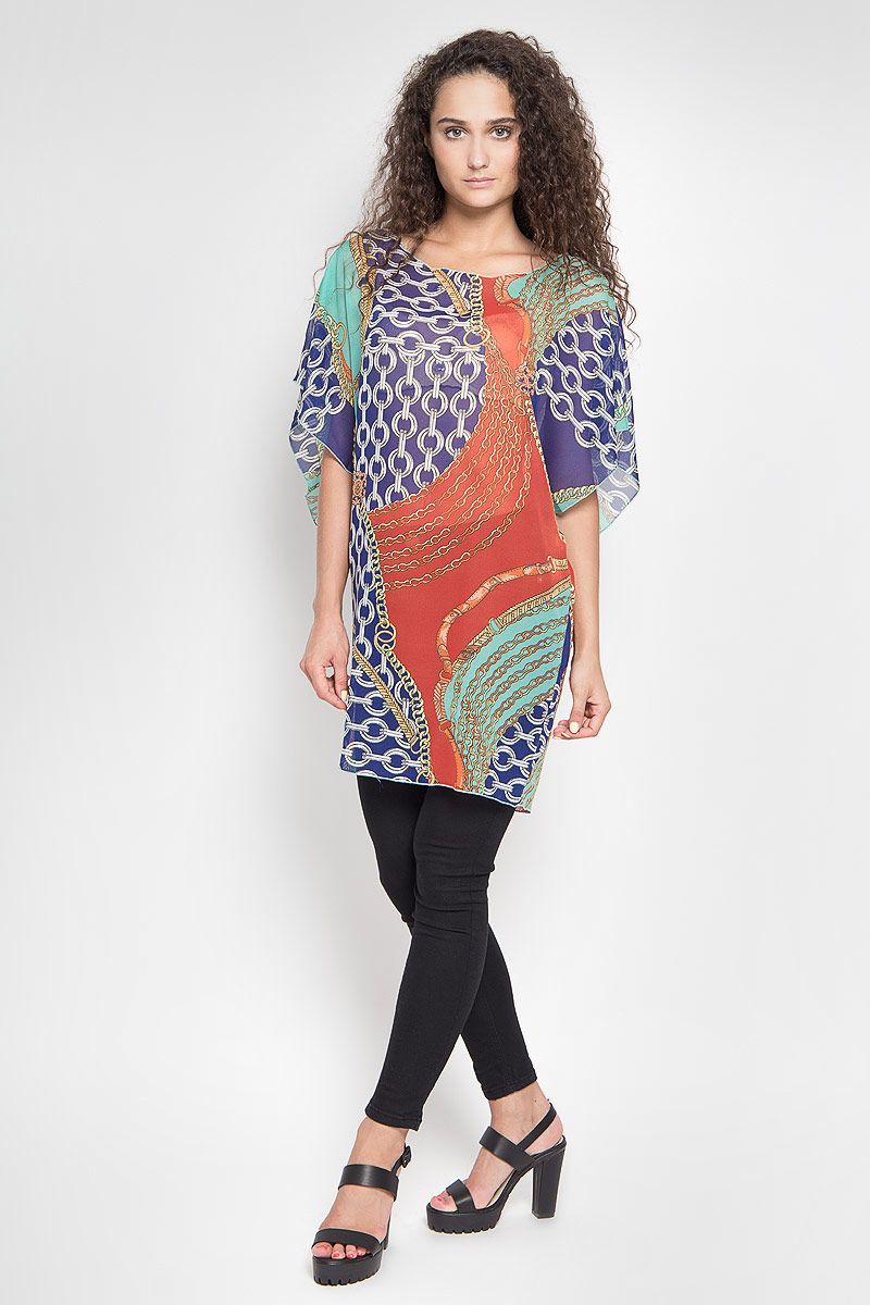 Туника женская Ruxara, цвет: оранжевый, мятный, темно-синий. 201143_90. Размер 44 футболка женская ruxara цвет молочный 1202700 6 размер 52