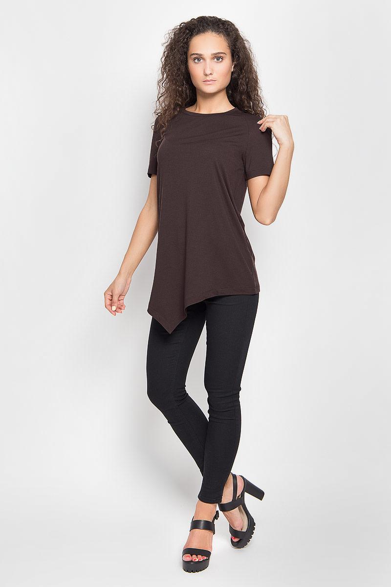Футболка женская Ruxara, цвет: темно-коричневый. 1202700_49. Размер 42 футболка женская ruxara цвет молочный 1202700 6 размер 52