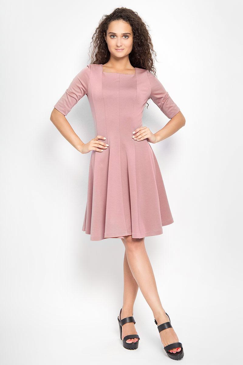Платье Ruxara, цвет: бежево-розовый. 105005_57. Размер 48105005_57Платье Ruxara, выполненное из высококачественного комбинированного материала, поможет создать отличный современный образ в стиле Casual.Модель приталенного силуэта с расклешенной юбкой дополнена вырезом горловины каре и рукавами длиной до локтя. Такое платье поможет создать яркий и привлекательный образ, в нем вам будет удобно и комфортно.