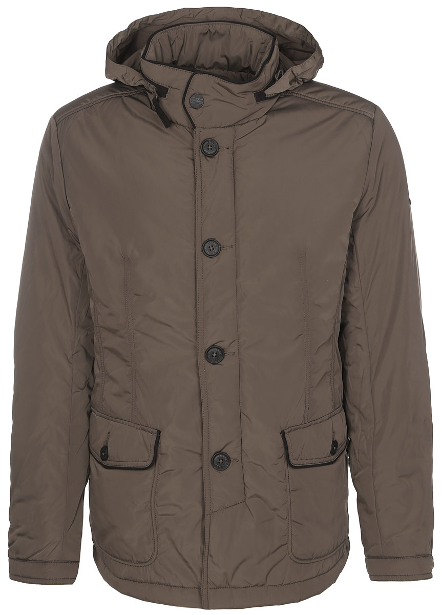 Куртка мужская Finn Flare, цвет: коричневый. A16-21002_613. Размер S (46)A16-21002_613Стильная мужская куртка Finn Flare превосходно подойдет для прохладных дней. Куртка выполнена из полиэстера, она отлично защищает от дождя, снега и ветра, а наполнитель из синтепона превосходно сохраняет тепло. Модель с длинными рукавами и воротником-стойкой застегивается на застежку-молнию и имеет ветрозащитный клапан на пуговицах. Воротник застегивается на кнопку. Куртка имеет несъемный капюшон, складывающийся в специальный карман на застежке-молнии на воротнике. Объем капюшона регулируется при помощи шнурка-кулиски со стопперами. Изделие дополнено двумя накладными карманами на клапанах с пуговицами, а также внутренним карманом на застежке-молнии и двумя внутренними карманами на пуговицах. Рукава дополнены манжетами на кнопках. По низу куртка дополнена разрезами на кнопках.Эта модная и в то же время комфортная куртка согреет вас в холодное время года и отлично подойдет как для прогулок, так и для активного отдыха.