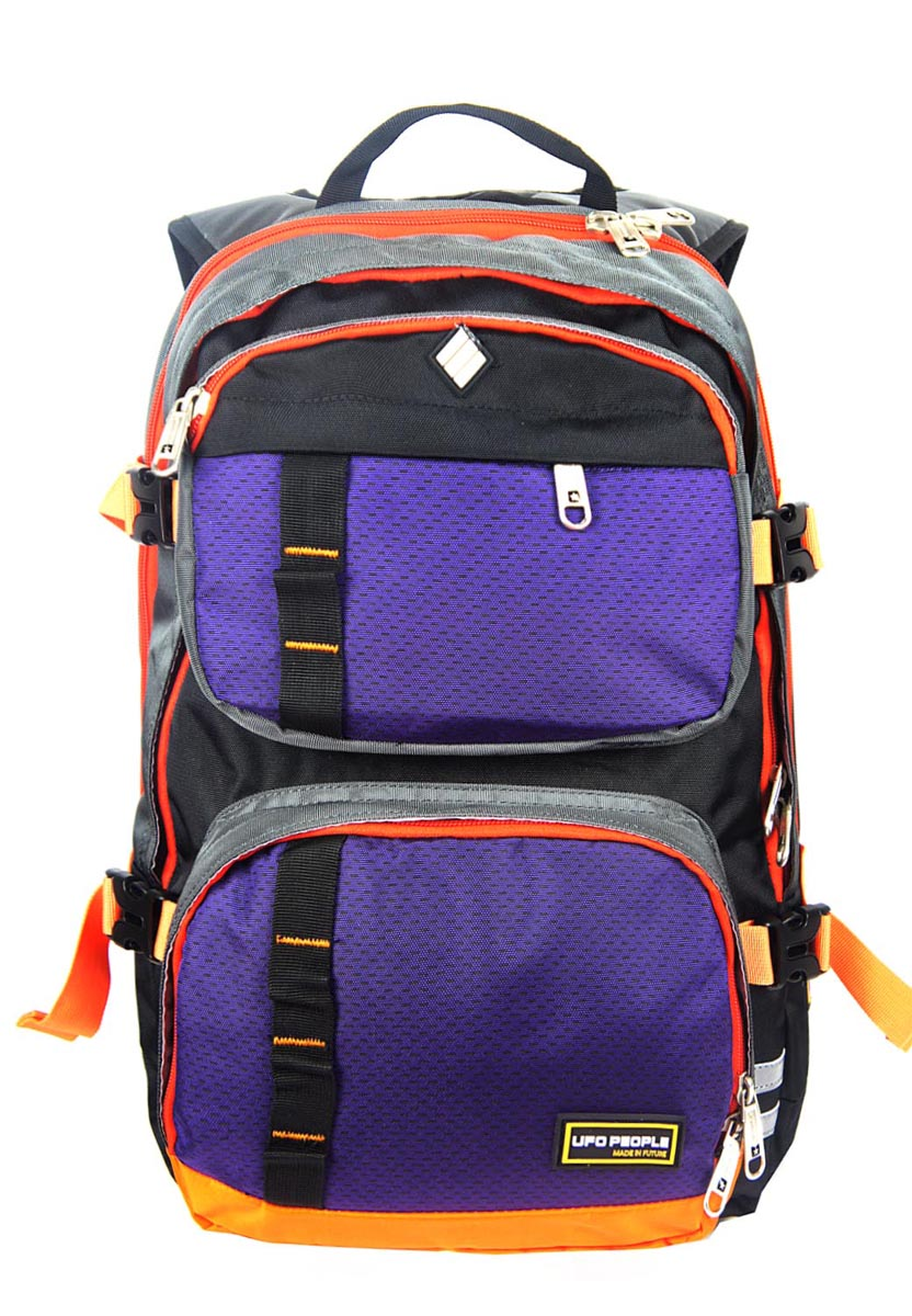Рюкзак спортивный UFO people, цвет: фиолетовый, 19 л. 55175517Рюкзак городской UFO people выполнен из высококачественного нейлона и оформлен фирменной надписью.Изделиеимеет мягкие вставки на спинке, нагрудный фиксатор лямок и уплотненное дно. Рюкзак оснащен ручкой для подвешивания и удобными лямками, длина которых регулируется с помощью пряжек. Изделие оснащено 6 наружными карманами на молниях. Внутри расположено два вместительных отделения на молнии.