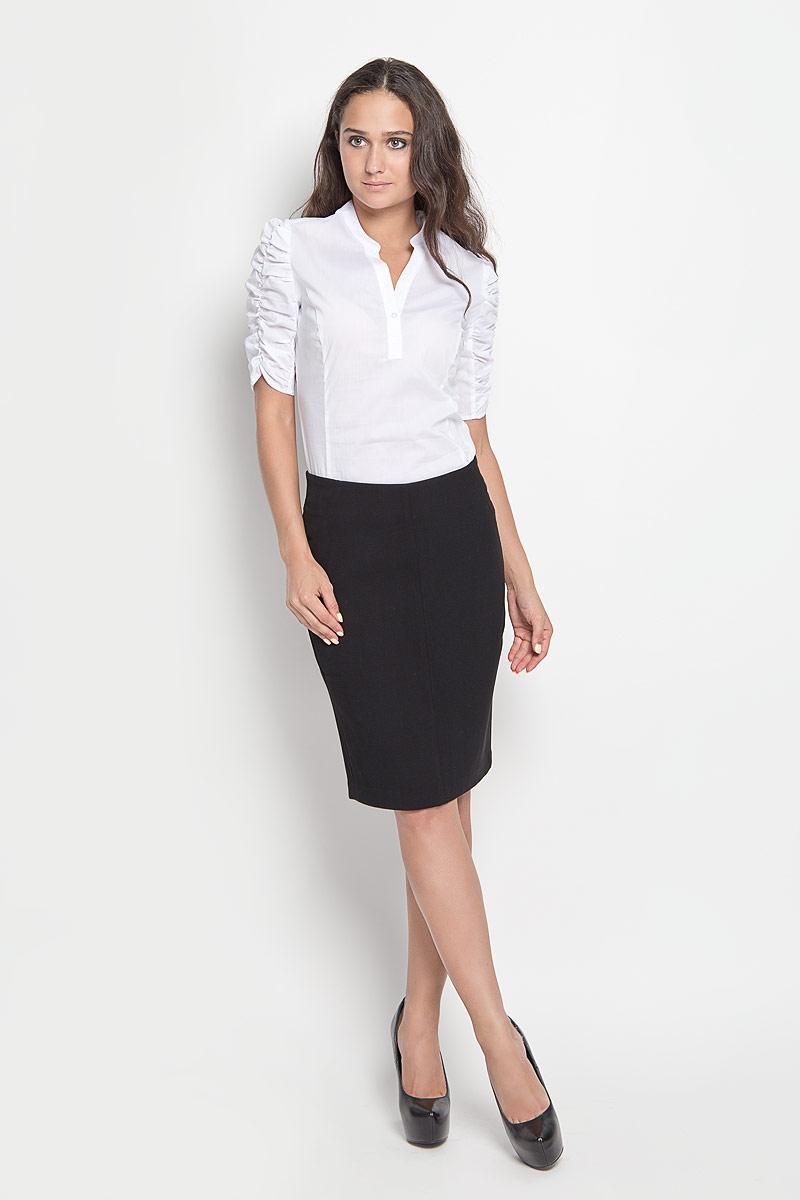 Юбка Sela, цвет: черный. SK-118/840-6321. Размер 48SK-118/840-6321Модная юбка-карандаш Sela, изготовленная из высококачественного комбинированного материала, подарит ощущение радости и комфорта. Изделие дополнено тонкой подкладкой. Модель длины миди сзади застегивается на застежку-молнию и крючок. В среднем шве юбка дополнена шлицей. В этой юбке вы всегда будете чувствовать себя неотразимой.