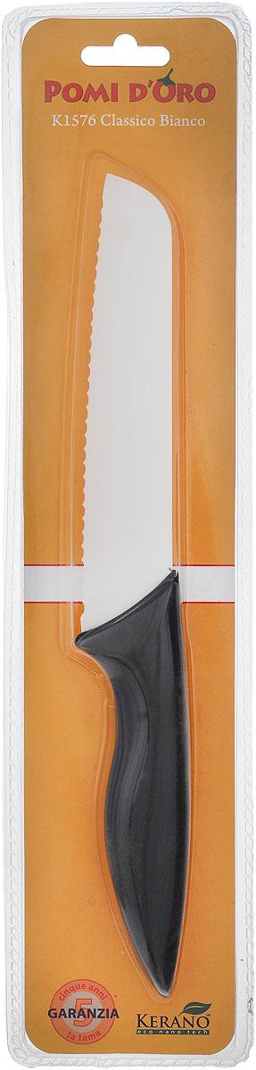 Нож для хлеба Pomi d'Oro Classico, керамический, длина лезвия 15 см77.858@19759 / K1576 Classico BiancoНож Pomi d'Oro Classico изготовлен из высококачественной белой керамики Kerano - гигиеничного, экологически чистого материала. Нож имеет острое лезвие, не требующее дополнительной заточки. Эргономичная рукоятка, выполненная из стали с прорезиненным покрытием, не скользит в руках и делает резку удобной и безопасной. Такой нож превосходно подходит для нарезки всех видов хлеба.Керамика - это отличная альтернатива металлу. В отличие от стальных ножей, керамические ножи не переносят ионы металла в пищу, не разрушаются от кислот овощей и фруктов и никогда не заржавеют. Нож Pomi dOro Classico станет прекрасным дополнением к коллекции ваших кухонных аксессуаров и не займет много места при хранении. Можно мыть в посудомоечной машине.Общая длина ножа: 27,5 см.Толщина лезвия: 2 мм.