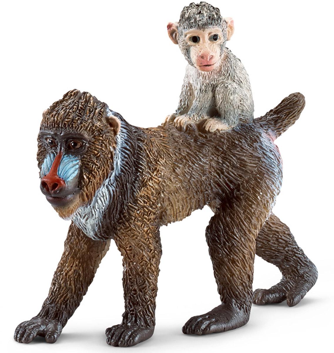 Schleich Фигурка Самка мандрила с детенышем фигурки игрушки schleich шимпанзе самка с детенышем