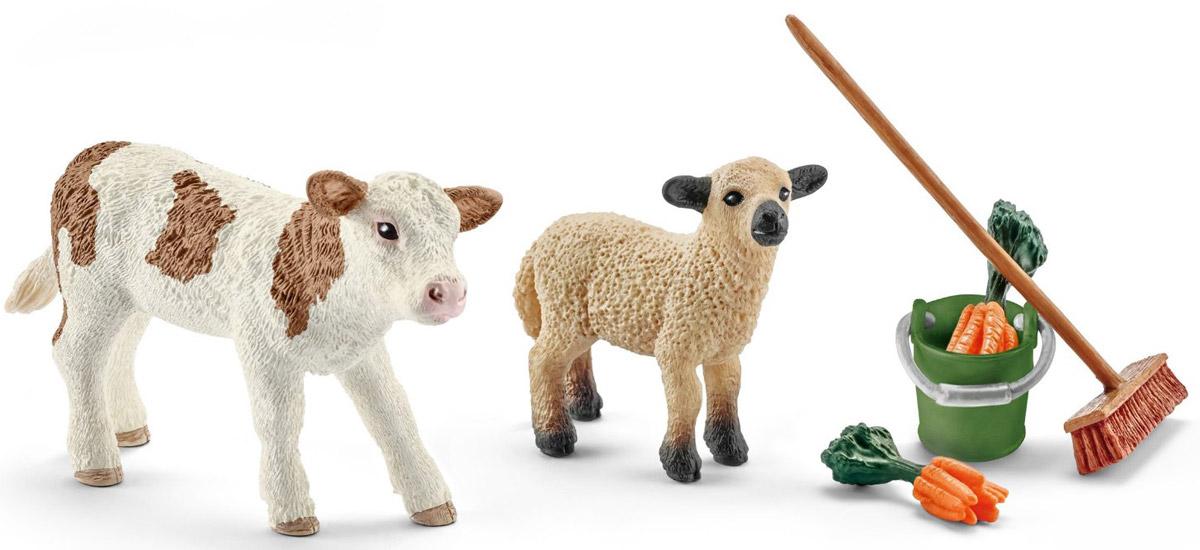 Schleich Набор фигурок Уход за животными с теленком и ягненком schleich гольштинская корова