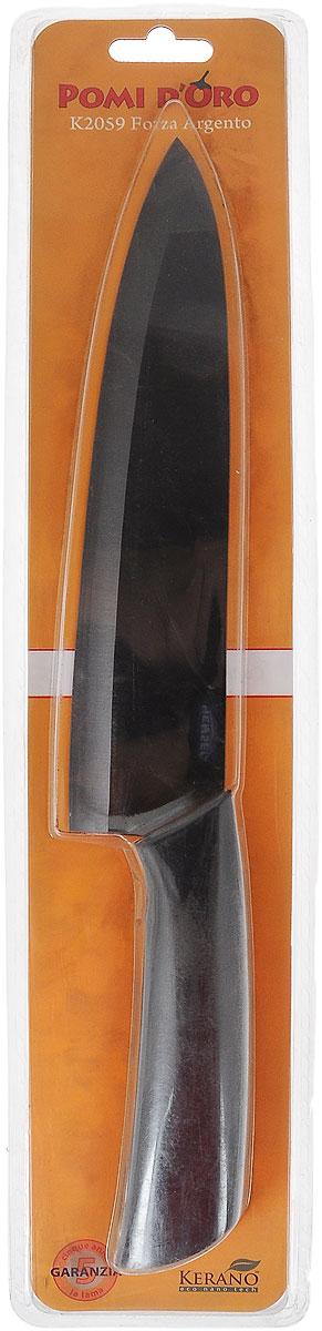 Нож поварской Pomi d'Oro Forza, керамический, длина лезвия 20 см77.858@19751 / K2059 Forza ArgentoНож Pomi dOro Forza изготовлен из высококачественной черной керамики Kerano - гигиеничного, экологически чистого нано-материала. Нож имеет острое лезвие, не требующее дополнительной заточки. Эргономичная рукоятка, выполненная из стали с прорезиненным покрытием, не скользит в руках и делает резку удобной и безопасной. Такой нож подходит для нарезки овощей, фруктов, рыбы и мяса без костей. Керамика - это отличная альтернатива металлу. В отличие от стальных ножей, керамические ножи не переносят ионы металла в пищу, не разрушаются от кислот овощей и фруктов и никогда не заржавеют. Нож Pomi dOro Forza будет служить вам многие годы при соблюдении простых правил.Можно мыть в посудомоечной машине.Общая длина ножа: 32,3 см.Толщина лезвия: 2 мм.