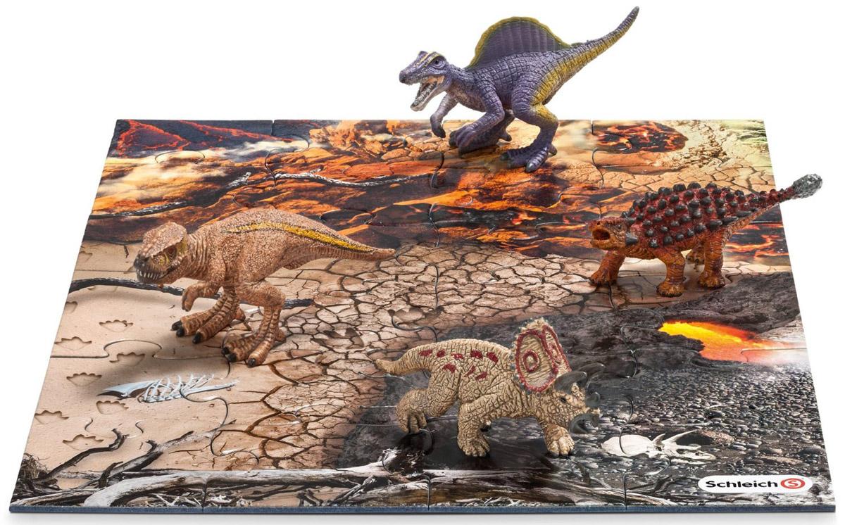 Schleich Набор фигурок Динозавры 4 шт + пазл Исследование набор фигурок tomy поезд динозавров мистер птеранодон дерек и олли