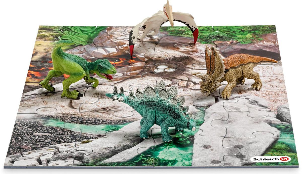 Schleich Набор фигурок Динозавры 4 шт + пазл Лавовые поля schleich набор аксессуаров для фигурок корм для собак и котов