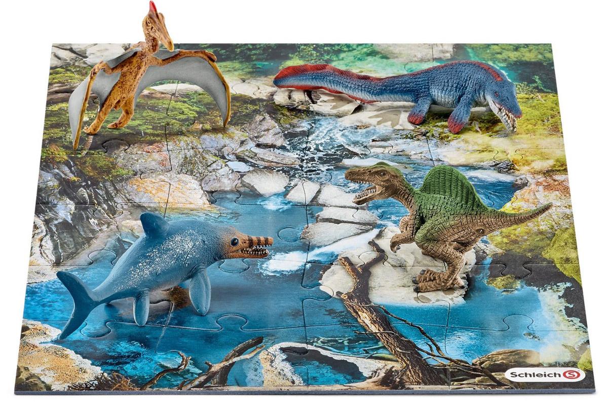 Schleich Набор фигурок Динозавры 4 шт + пазл Болото schleich набор аксессуаров для фигурок корм для собак и котов