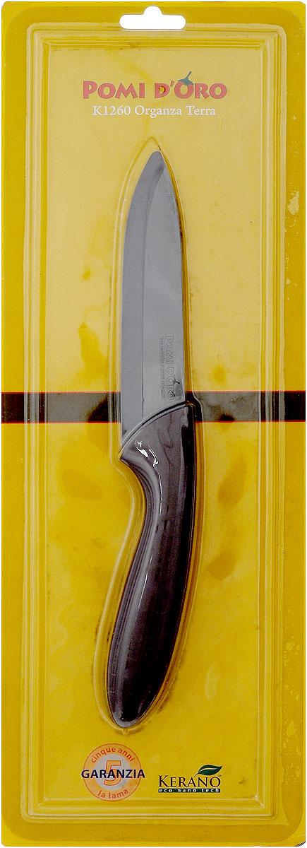 Нож универсальный Pomi dOro Organza, керамический, длина лезвия 12 см77.858@21285 / K1260 Organza TerraНож Pomi dOro Organza Terra изготовлен из коричневой керамики Kerano. Kerano - это уникальный керамический нано-материал, который не содержит вредные примеси, в том числе перфоктановую кислоту (PTFE) и примеси, используемые для легированной стали. Материал изделия не вступает в реакцию с пищей во время готовки. Изделие имеет эргономичную обрезиненную ручку, которая не скользит в руках и делает резку удобной и безопасной. Можно мыть в посудомоечной машине. Длина ножа: 23 см.
