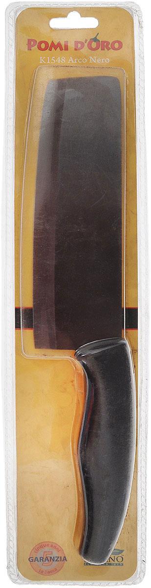 Нож разделочный Pomi d'Oro Arco, керамический, длина лезвия 15 см77.858@19765 / K1548 Arco NeroРазделочный нож Pomi d'Oro Arco изготовлен из высококачественной черной керамики Kerano - гигиеничного, экологически чистого нано-материала. Нож имеет острое лезвие, не требующее дополнительной заточки. Эргономичная прорезиненная рукоятка не скользит в руках и делает резку удобной и безопасной. Такой нож превосходно подходит для разделки крупных овощей (капусты, свеклы, кабачков), для нарезки больших кусков сырого и вареного мяса, разделки курицы, крупной рыбы.Керамика - это отличная альтернатива металлу. В отличие от стальных ножей, керамические ножи не переносят ионы металла в пищу, не разрушаются от кислот овощей и фруктов и никогда не заржавеют. Нож Pomi dOro Arco будет служить вам многие годы при соблюдении простых правил.Можно мыть в посудомоечной машине.Общая длина ножа: 28,2 см.Ширина лезвия: 5 см.Толщина лезвия: 2 мм.
