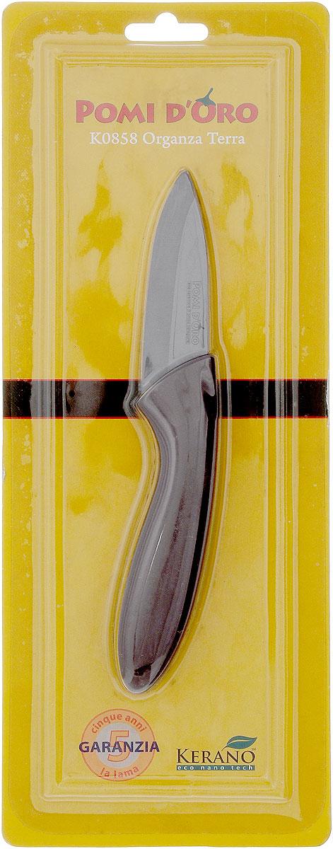 Нож для чистки овощей Pomi d'Oro Organza, керамический, длина лезвия 8 см77.858@21283 / K0858 Organza TerraНож Pomi dOro Organza изготовлен из коричневой керамики Kerano. Kerano - это уникальный керамический нано-материал, который не содержит вредные примеси, в том числе перфоктановую кислоту (PTFE) и примеси, используемые для легированной стали. Материал изделия не вступает в реакцию с пищей во время готовки. Изделие имеет эргономичную обрезиненную ручку, которая не скользит в руках и делает резку удобной и безопасной. Можно мыть в посудомоечной машине. Длина ножа: 16,5 см.