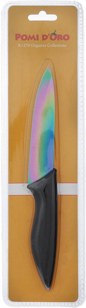 Нож универсальный Pomi d'Oro Organza, керамический, цвет: радужный, черный, длина лезвия 12 см77.858@23622 / K1276 OrganzaНож Pomi dOro Organza изготовлен из радужной керамики Kerano. Kerano - это уникальный керамический нано-материал, который не содержит вредные примеси, в том числе перфоктановую кислоту (PTFE) и примеси, используемые для легированной стали. Материал изделия не вступает в реакцию с пищей во время готовки. Изделие имеет эргономичную обрезиненную ручку, которая не скользит в руках и делает резку удобной и безопасной. Можно мыть в посудомоечной машине. Длина ножа: 23 см.