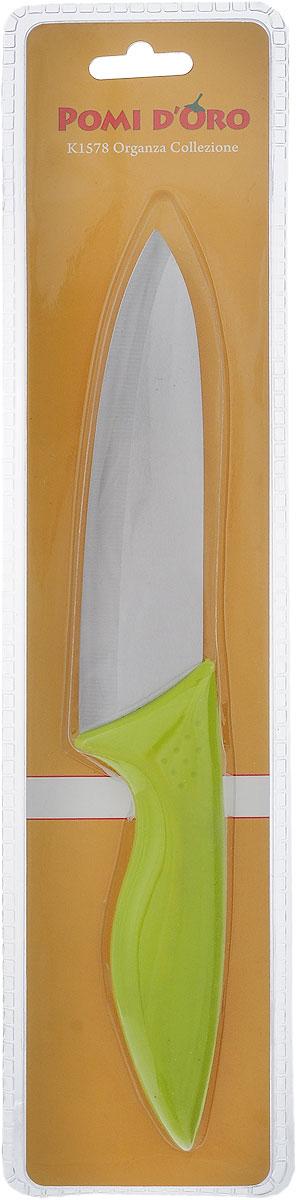 Нож универсальный Pomi d'Oro Organza, керамический, длина лезвия 15 см77.858@23618 / K1578 OrganzaУниверсальный нож Pomi d'Oro Organza предназначен для нарезки различных продуктов. Лезвие выполнено из высококачественной керамики Kerano серебристого цвета. Эргономичная рукоятка, выполненная из пищевого пластика с покрытием soft-touch, не скользит в руках и делает нарезку удобной и безопасной. Нож Pomi dOro Organza идеально шинкует, нарезает и измельчает продукты. Он займет достойное место среди аксессуаров на вашей кухне.Общая длина ножа: 27 см.Толщина лезвия: 2 мм.