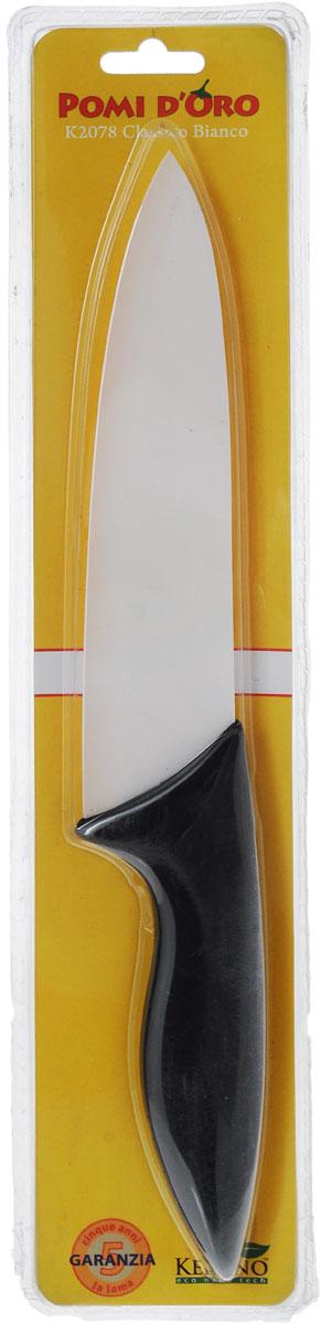 Нож поварской Pomi d'Oro Classico, керамический, длина лезвия 18 см77.858@20983 / K1877 (40) Classico BiancoНож Pomi dOro Classico изготовлен из высококачественной белой керамики Kerano - гигиеничного, экологически чистого материала. Нож имеет острое лезвие, не требующее дополнительной заточки. Эргономичная рукоятка, выполненная из стали с прорезиненным покрытием, не скользит в руках и делает резку удобной и безопасной. Такой нож подходит для нарезки овощей, фруктов, рыбы и мяса без костей. Керамика - это отличная альтернатива металлу. В отличие от стальных ножей, керамические ножи не переносят ионы металла в пищу, не разрушаются от кислот овощей и фруктов и никогда не заржавеют. Нож Pomi dOro Classico будет служить вам многие годы при соблюдении простых правил.Можно мыть в посудомоечной машине.Общая длина ножа: 31 см.Толщина лезвия: 2 мм.