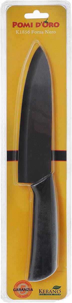 Нож поварской Pomi d'Oro Forza, керамический, цвет: черный, длина лезвия 18 см77.858@20981 / K1856 (40) Forza NeroНож Pomi d'Oro Forza изготовлен из высококачественной черной керамики Kerano - гигиеничного, экологически чистого нано-материала. Нож имеет острое лезвие, не требующее дополнительной заточки. Эргономичная рукоятка, выполненная из стали с прорезиненным покрытием, не скользит в руках и делает резку удобной и безопасной. Такой нож подходит для нарезки овощей, фруктов, рыбы и мяса без костей. Керамика - это отличная альтернатива металлу. В отличие от стальных ножей, керамические ножи не переносят ионы металла в пищу, не разрушаются от кислот овощей и фруктов и никогда не заржавеют. Нож Pomi dOro Forza будет служить вам многие годы при соблюдении простых правил.Можно мыть в посудомоечной машине.Общая длина ножа: 30 см.Толщина лезвия: 2 мм.