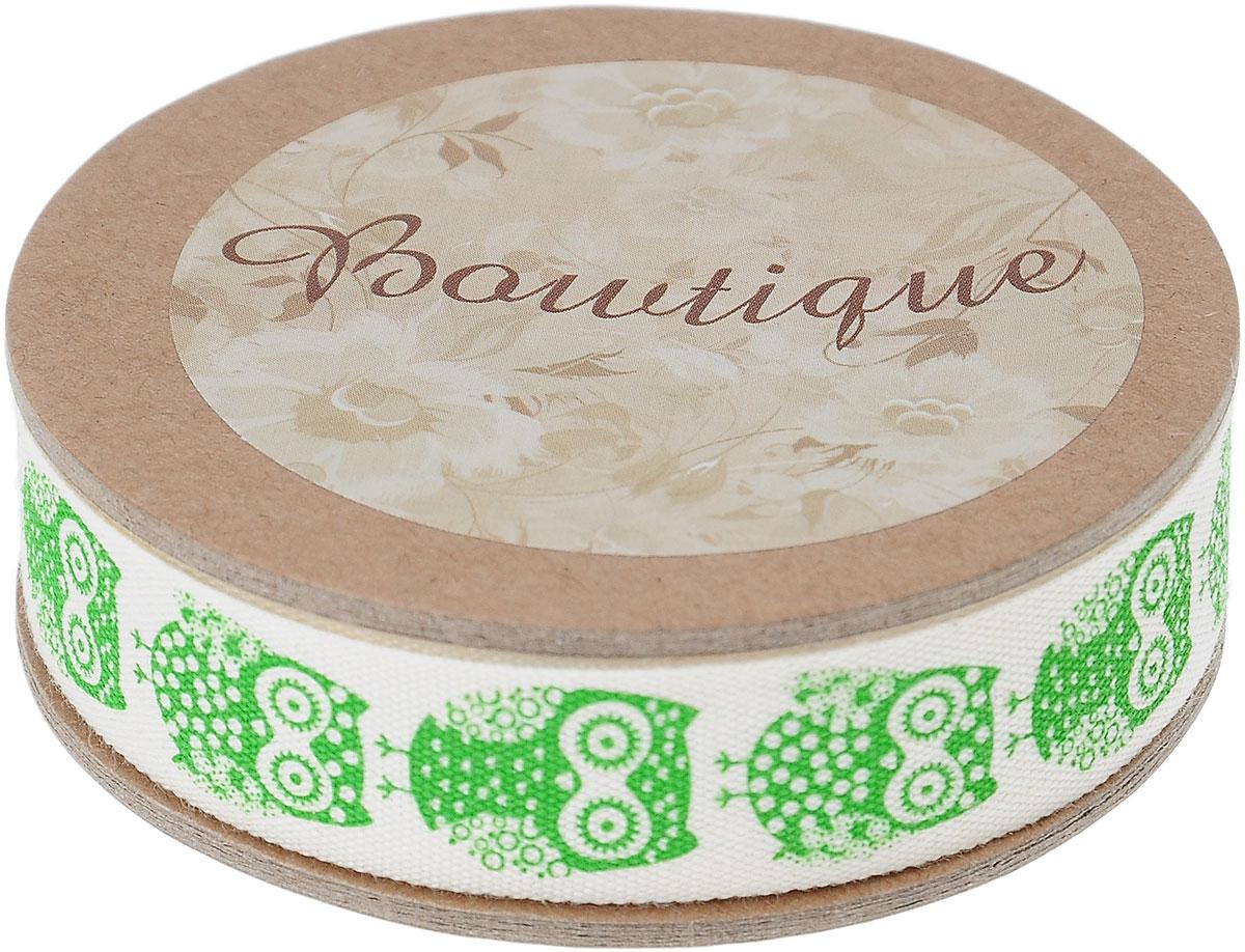 Лента хлопковая Hemline Совы, цвет: молочный, зеленый, 1,5 х 500 смVR15.680Лента на картонной катушке Hemline Совы выполнена из 100% хлопка. Она идеально подойдет для оформления различных творческих работ, может использоваться для скрапбукинга, создания аппликаций, декора коробок и открыток, часто ее применяют при пошиве одежды, сумок, аксессуаров. Лента наивысшего качества практична в использовании. Она станет незаменимым элементом в создании вашего рукотворного шедевра.