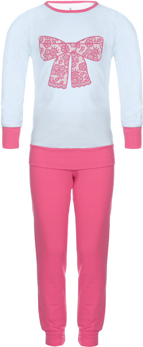 Пижама для девочки Baykar, цвет: светло-голубой, розовый. N9005217A-9. Размер 110/116N9005217A-9/N9005217B-9Пижама для девочки Baykar, выполненная из мягкого эластичного хлопка, идеально подойдет маленькой принцессе для сна и отдыха. Материал приятный к телу, не стесняет движений, хорошо пропускает воздух. Пижама состоит из футболки с длинным рукавом и брюк. Футболка с длинными рукавами и круглым вырезом горловины украшена изображением кружевного бантика. Вырез горловины оформлен эластичной бейкой. На рукавах имеются широкие манжеты.Брюки имеют на талии мягкую широкую резинку, благодаря чему они не сдавливают животик ребенка и не сползают. На брючинах предусмотрены широкие манжеты. Высокое качество исполнения и дизайн принесут удовольствие от покупки и подарят отличное настроение!
