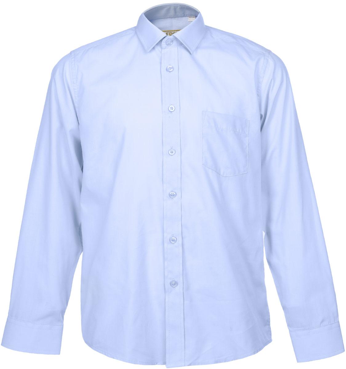 Рубашка для мальчика Tsarevich, цвет: голубой. Dream Blue. Размер 33/146-152, 9-11 летDream BlueСтильная рубашка для мальчика Tsarevich идеально подойдет для школы. Изготовленная из хлопка с добавлением полиэстера, она необычайно мягкая, легкая и приятная на ощупь, не сковывает движения и позволяет коже дышать, не раздражает даже самую нежную и чувствительную кожу ребенка, обеспечивая ему наибольший комфорт. Рубашка классического кроя с длинными рукавами и отложным воротничком застегивается на пуговицы, на груди она дополнена небольшим накладным кармашком. Рукава имеют широкие манжеты, также застегивающиеся на пуговицу.Такая рубашка - незаменимая вещь для школьной формы, отлично сочетается с брюками, жилетами и пиджаками.