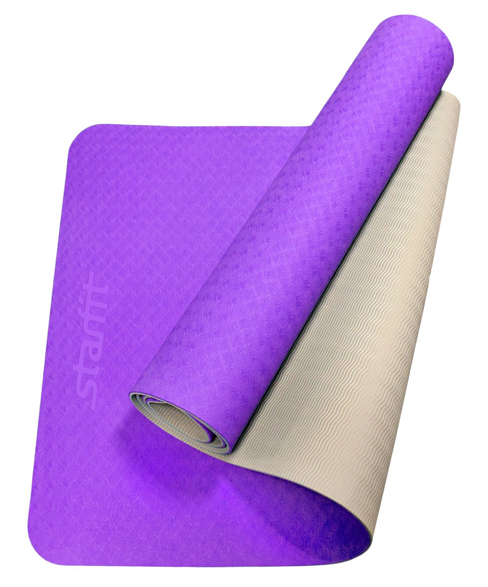 Коврик для йоги Starfit FM-201, цвет: фиолетовый, серый, 173 x 61 x 0,5 см эспандер ленточный starfit es 201 цвет серый 1200 х 150 х 0 55 мм