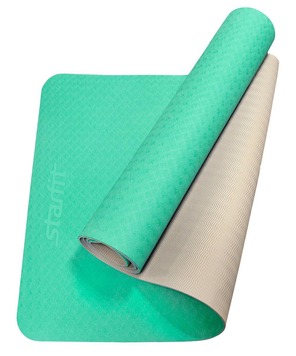 Коврик для йоги Starfit FM-201, цвет: мятный, серый,173 x 61 x 0,6 смУТ-00008848Коврик для йоги Starfit FM-201 предназначен для занятий йогой и фитнесом. Выполнен из термопластичного эластомера - прочного и износостойкого материала, имеет яркий и привлекательный внешний вид.Коврик двухцветный: обе поверхности могут использоваться для упражнений. Помогают разнообразить занятия.На коврике можно заниматься даже в обуви, прочная поверхность выдерживает большие нагрузки.Помимо йоги может использоваться для фитнес-тренировок, выполнения упражнений по растяжке (стретчингу), в функциональном тренинге. В комплект входят текстильные завязки для удобной транспортировки.