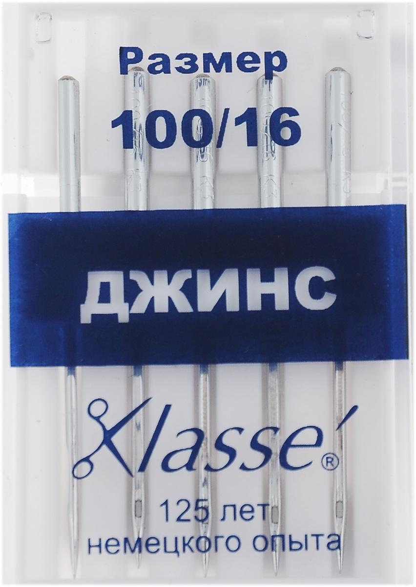 """Иглы для бытовых швейных машин """"Hemline"""", для джинсовых и плотных тканей, №100, 5 шт. A6130/100"""