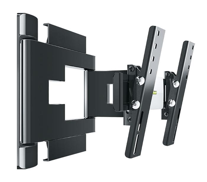 Holder LEDS-7015, Black кронштейн для ТВLEDS-7015, черныйНадежное металлическое основание кронштейна Holder LEDS-7015 (толщина металла 3 мм) и крепление до 8 винтов гарантируют сохранность устанавливаемой техники.Внутри декоративных корпусных деталей кронштейна находится усиленный металлический несущий каркас, испытанный трехкратной нагрузкой. Металлический каркас исключает провисание кронштейна под тяжестью техники.Кронштейн сконструирован с учетом особенностей телевизионной техники. Четко вымеренное расстояние от стены позволяет устанавливать телевизоры с различными разъемами (в том числе и с перпендикулярными разъемами). Расстояние от стены предотвращает перегрев телевизора, а так же гарантирует максимальный эффект звучания.В корпус деталей интегрирован кабель-канал с эксклюзивным способом укладки проводов, для использования которого не нужно инструментов. Направляющие в кабель-канале позволяют аккуратно