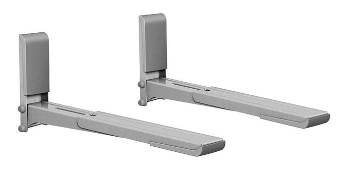 Holder MWS-2003, Metallic кронштейн для СВЧMWS-2003 металликHolder MWS-2003 - это универсальный кронштейн для СВЧ-печей с максимальной нагрузкой 40 кг.Особенности:· Консоли кронштейна выдвигаются на 15 см, благодаря чему кронштейн совместим с большинством моделей СВЧ-печей.· Отрицательный угол наклона консоли гарантирует безопасность СВЧ-печи.· Кронштейн прошел испытания статической нагрузкой 60 кг.· Техника, установленная на кронштейн, застрахована производителем.· Пластиковые накладки на основании и консолях делают кронштейн гармоничным дополнением к технике.· В набор входят все необходимые крепежи и инструкция по установке.