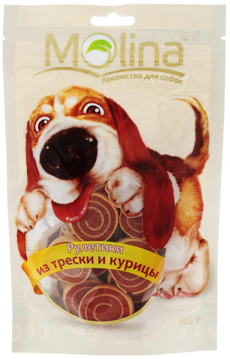 Лакомство для собак Molina Рулетики, из трески и курицы, 80 г4620002670757Лакомство Molina в виде рулетиков из трески и курицы удовлетворяет естественный жевательный инстинкт вашей собаки. Укрепляет челюсть и жевательную мускулатуру. Очищает зубы и предотвращает образование зубного камня. Лакомство содержит глицин, благотворно влияющий на кожу и шерсть. Товар сертифицирован.