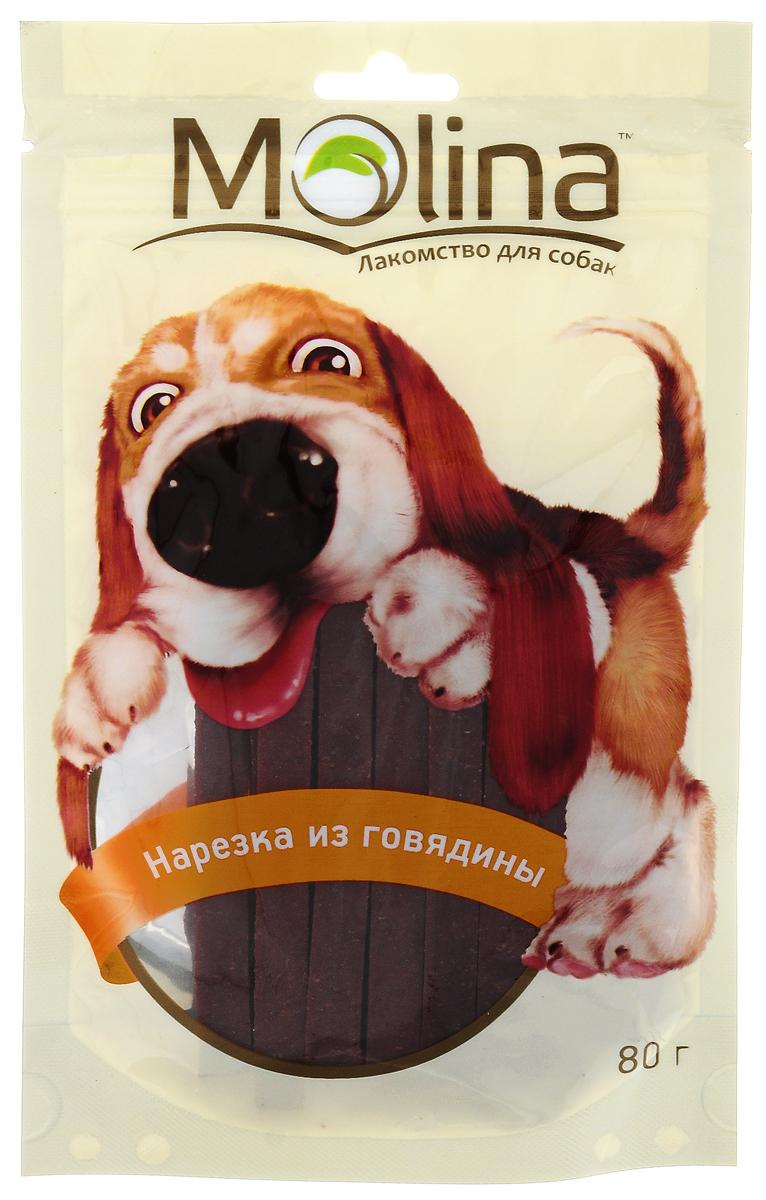 Лакомство для собак Molina Нарезка, из говядины, 80 г4620003781568Лакомство для собак Molina Нарезка состоит из 100%натурального мяса. Такое лакомство удовлетворяет естественный жевательный инстинкт вашего питомца. Укрепляет челюсть и жевательную мускулатуру. Очищает зубы и предотвращает образование зубного камня. Содержит глицин, благотворно влияющий на кожу и шерсть. Товар сертифицирован.Тайная жизнь домашних животных: чем занять собаку, пока вы на работе. Статья OZON ГидЧем кормить пожилых собак: советы ветеринара. Статья OZON Гид