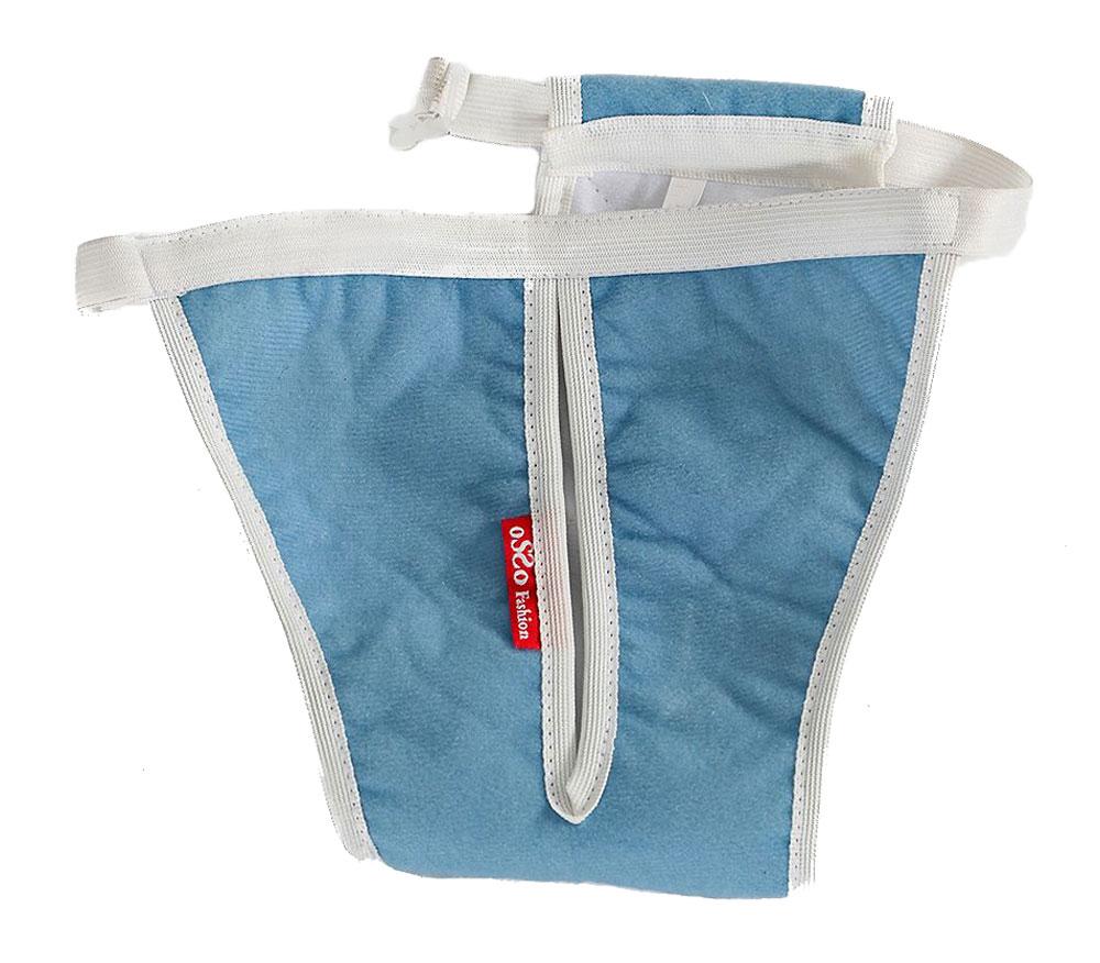 Трусы для собак OSSO Fashion Absorb, для девочки, многоразовые, цвет: голубой, белый. Размер LТ-1023Комфортные трусы для собак OSSO Fashion Absorb изготовлены из высокотехнологичной абсорбирующей ткани с впитывающей мембраной, дышащим верхним и непромокаемым нижним слоем. Трусы имеют дышащую поверхность благодаря уникальной микропористой структуре мембран. Они защищают дом от пятен во время течки или при незначительном подтекании мочи и надежно удерживают запах. Многоразовые трусы для собак имеют ограниченную емкость, поэтому не могут быть использованы вместо памперса. Выдерживают более 300 стирок. Трусы имеют регулируемый эластичный пояс с пластиковой застежкой для фиксации и широкое отверстие для хвоста. Такие трусы легко надеваются и удобны для собаки.Обхват талии: 56-84 см.Глубина: 60 см.