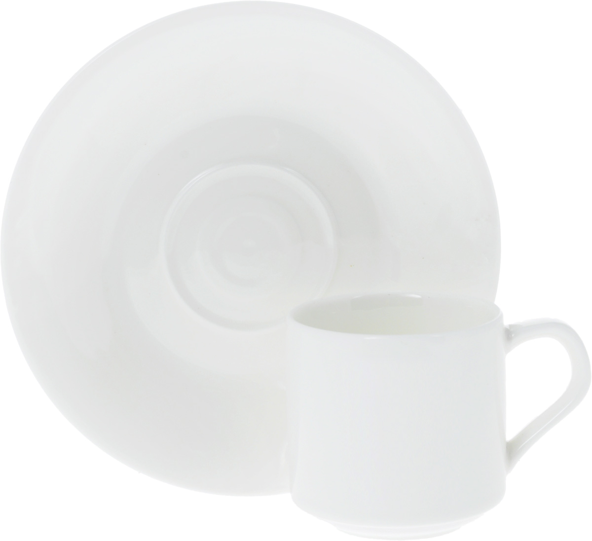 """Кофейная пара """"Wilmax"""" состоит из чашки и блюдца. Изделия выполнены из высококачественного фарфора, покрытого слоем глазури. Изделия имеют лаконичный дизайн, просты и функциональны в использовании. Кофейная пара """"Wilmax"""" украсит ваш кухонный стол, а также станет замечательным подарком к любому празднику.  Изделия можно мыть в посудомоечной машине и ставить в микроволновую печь.  Объем чашки: 90 мл.Диаметр чашки (по верхнему краю): 5,5 см.Высота чашки: 5,5 см.Диаметр блюдца: 13,5 см."""