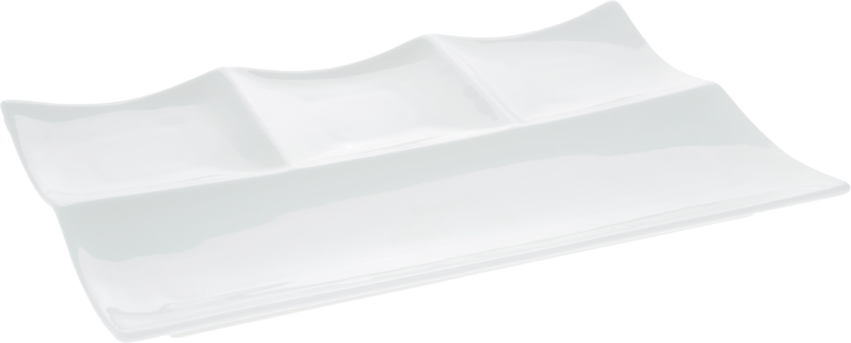 Блюдо Wilmax, прямоугольное, 30 х 20 смWL-992598 / AБлюдо Wilmax прямоугольной формы изготовлено из высококачественного фарфора, покрытого слоем глазури. Изделие имеет 4 секции: одну прямоугольную и 3 квадратных. Предназначено для подачи разных видов нарезок, всевозможных закусок, канапе. Такое блюдо пригодится в любом хозяйстве, оно подойдет как для праздничного стола, так и для повседневного использования. Блюдо функциональное, практичное в использовании и легкое в уходе. Размер секций: 30 х 10 см; 10 х 10 см.