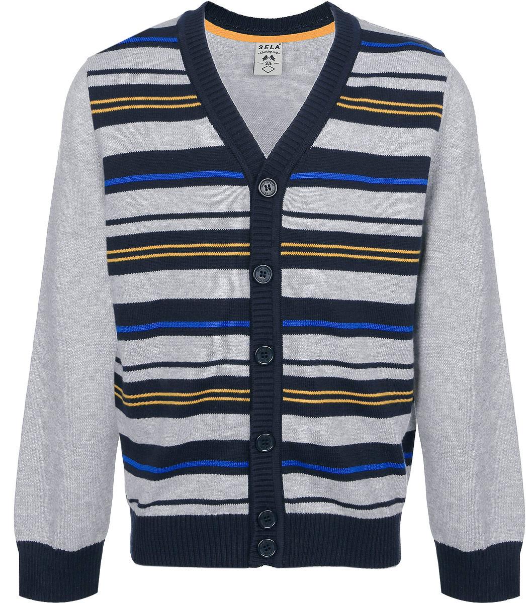 купить Кардиган для мальчика Sela, цвет: серый меланж. CN-714/144-6322. Размер 116, 6 лет дешево