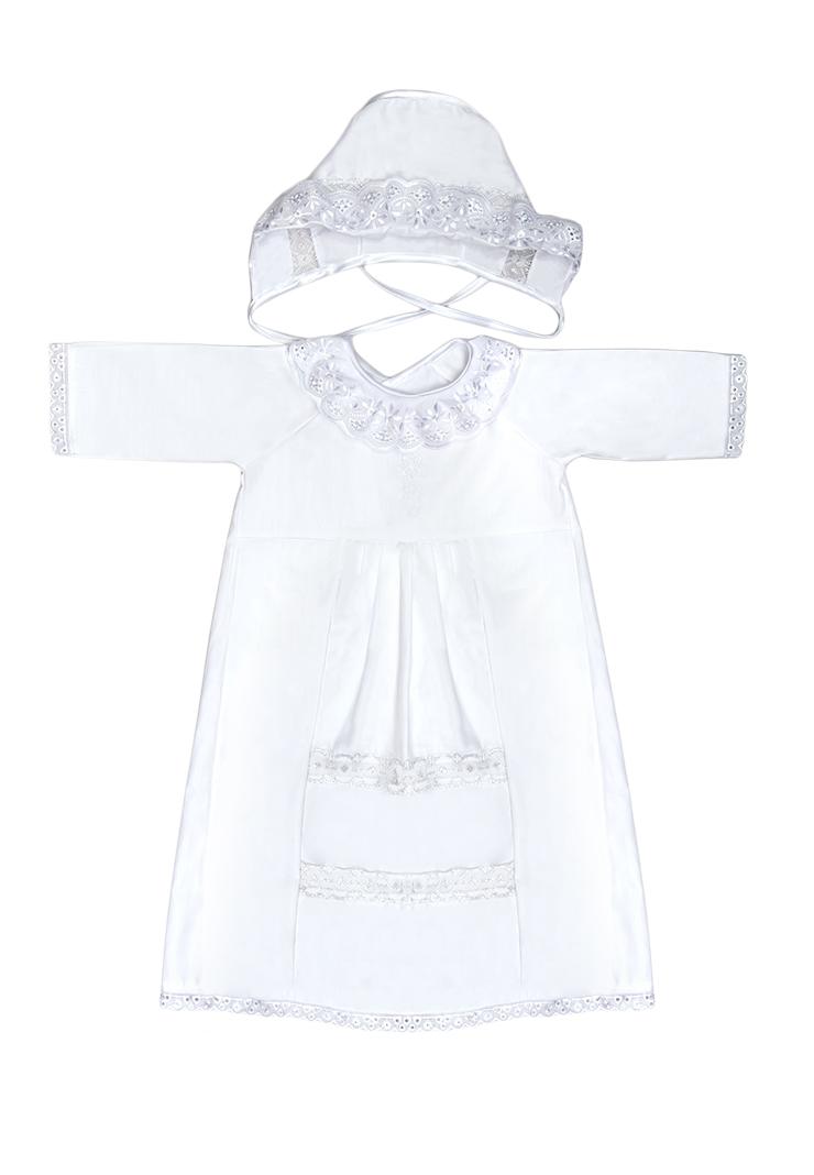 Набор крестильный для девочки Сонный Гномик: рубашка, чепчик, пеленка, мешочек, цвет: белый. 12/0. Размер 62, 0-3 месяца12/0Крестильный набор для девочки Сонный Гномик включает в себя удлиненную крестильную рубашку с запахом на спинке, пеленку, чепчик и мешочек. Все элементы набора выполнены из натурального хлопка. Крестильная рубашка фиксируется при помощи двух кнопок на спинке. Модель с длинными рукавами-реглан оформлена кружевными вставками и вышивкой в виде креста на груди. Пеленка также отделана кружевом по краю и украшена вышивкой. Чепчик украшен кружевом и имеет завязки из атласных лент. Мешочек дополнен шнурком-кулиской.