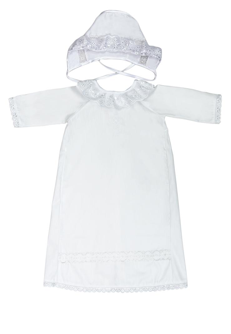 Набор крестильный для мальчика Сонный Гномик: рубашка, чепчик, пеленка, мешочек, цвет: белый. 13/0. Размер 62, 0-3 месяца13/0Крестильный набор для мальчика Сонный Гномик включает в себя удлиненную крестильную рубашку с запахом на спинке, пеленку, чепчик и мешочек. Все элементы набора выполнены из натурального хлопка. Крестильная рубашка фиксируется при помощи двух кнопок на спинке. Модель с длинными рукавами-реглан оформлена кружевными вставками и вышивкой в виде креста на груди. Пеленка также отделана кружевом по краю и украшена вышивкой. Чепчик украшен кружевом и имеет завязки из атласных лент. Мешочек дополнен шнурком-кулиской.