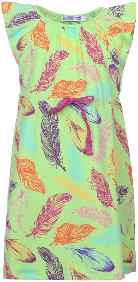 Платье для девочки Detiland, цвет: салатовый. SS16-DLUZ-583. Размер 98 фуфайка футболка д мал detiland ss16 ukn bts 470 белый р 98 1125963