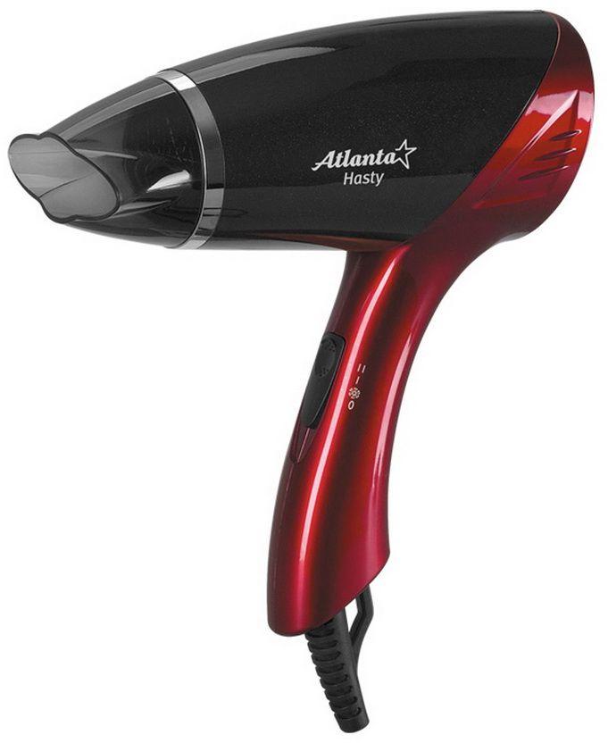 Atlanta ATH-874, Red фенATH-874Фен Atlanta ATH-874 мощностью 1600 Вт благодаря петле для подвешивания, малым размерам и небольшому весу необычайно комфортен при обращении. Концентратор позволяет по очереди обработать каждую прядь для максимального эффекта укладки, переключатель температуры и скорости - подобрать режим для интенсивной или щадящей сушки. Устройство надежно защищено от перегрева во время использования.
