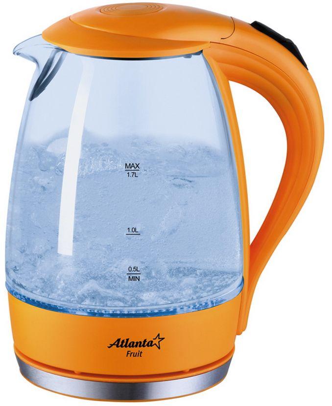 Atlanta ATH-2461, Orange электрический чайникATH-2461Корпус из термостойкого стеклаИллюминацияСпециальная ручка от скольженияПоворот на подставке на 360°Быстрое закипаниеФильтр от накипиЗакрытый нагревательный элемент Автоматическое отключениеЗащита от перегрева без водыЭлектрошнур в цокольной подставке Мощность 2000 Вт,230V, 50Hz.