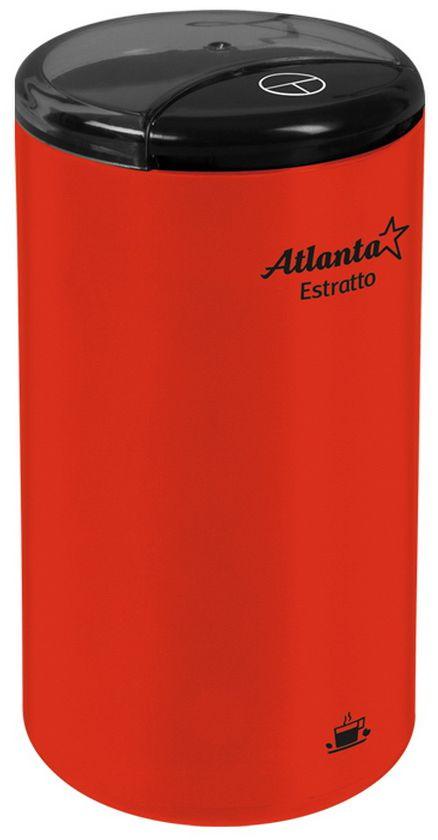 Atlanta ATH-3391, Red кофемолкаATH-3391Высокая однородность помолаЗащита от случайного включенияНожи из нержавеющей сталиБольшой объем, до 75 г кофеИзделие сертифицировано Госстандартом РФСоответствует американским и европейским нормам безопасностиМаксимальная мощность 180 Вт230 В, 50 Гц