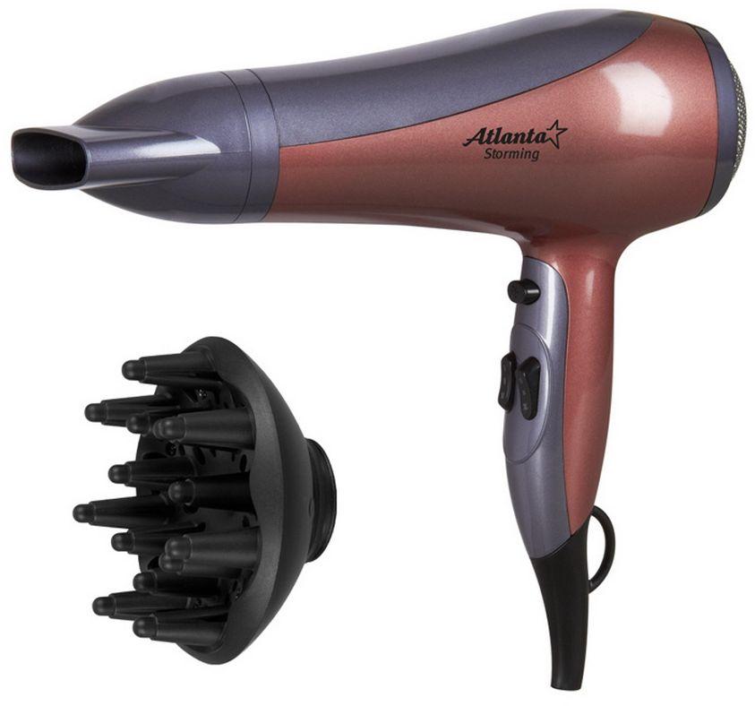 Atlanta ATH-6807, Gray фенATH-6807Фен Atlanta ATH-6807 обеспечивает мощный воздушный поток и быструю сушку волос. Оснащен двумя уровнями интенсивности воздушного потока. Имеет систему здоровой сушки - сбалансированная система контроля температуры и силы воздушного потока устанавливает оптимальный режим сушки на уровне 57°С и исключает потерю протеина волос вследствие перегрева. Благодаря диффузору, который идет в комплекте, вы можете сделать себе быстро стильную укладку.