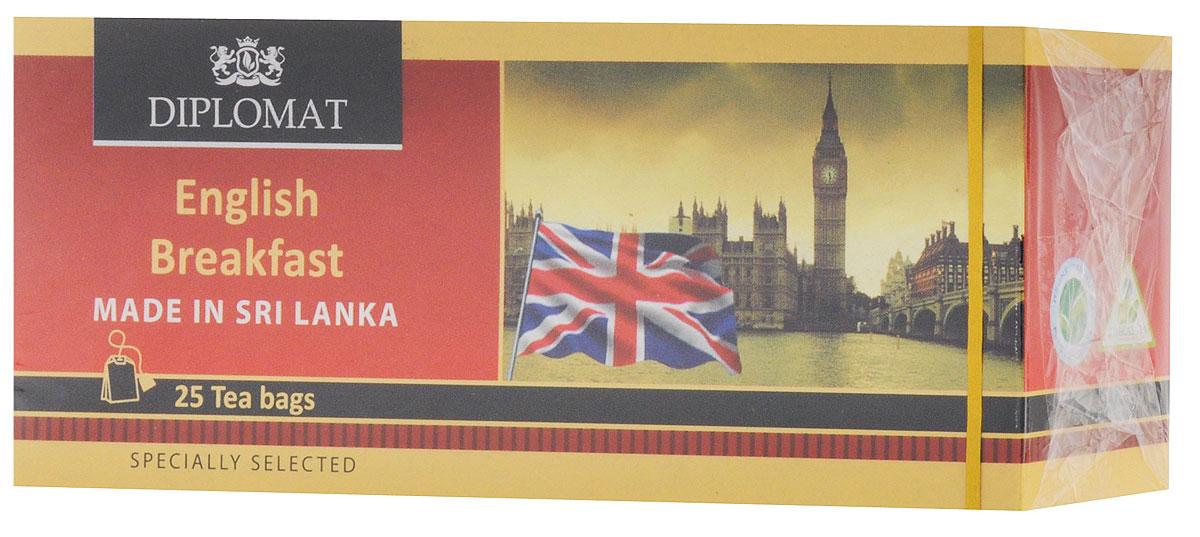 Diplomat Ceylon English Breakfast чай черный в пакетиках, 25 шт4791007011484Черный чай Diplomat Ceylon English Breakfast имеет яркий рубиновый настой, приятный аромат с цветочно-медовыми нотками и нежнейший вкус.
