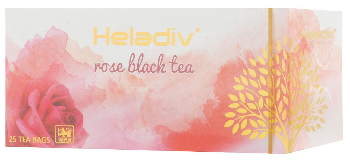 Heladiv Rose чай черный в пакетиках с ароматом розы, 25 шт4791007008538Сочетание элитного цейлонского чая Heladiv с насыщенным ароматом розы подарит вам незабываемое ощущение легкости. Напиток обладает приятным вкусом, насыщенным ароматом розы и сочным настоем.