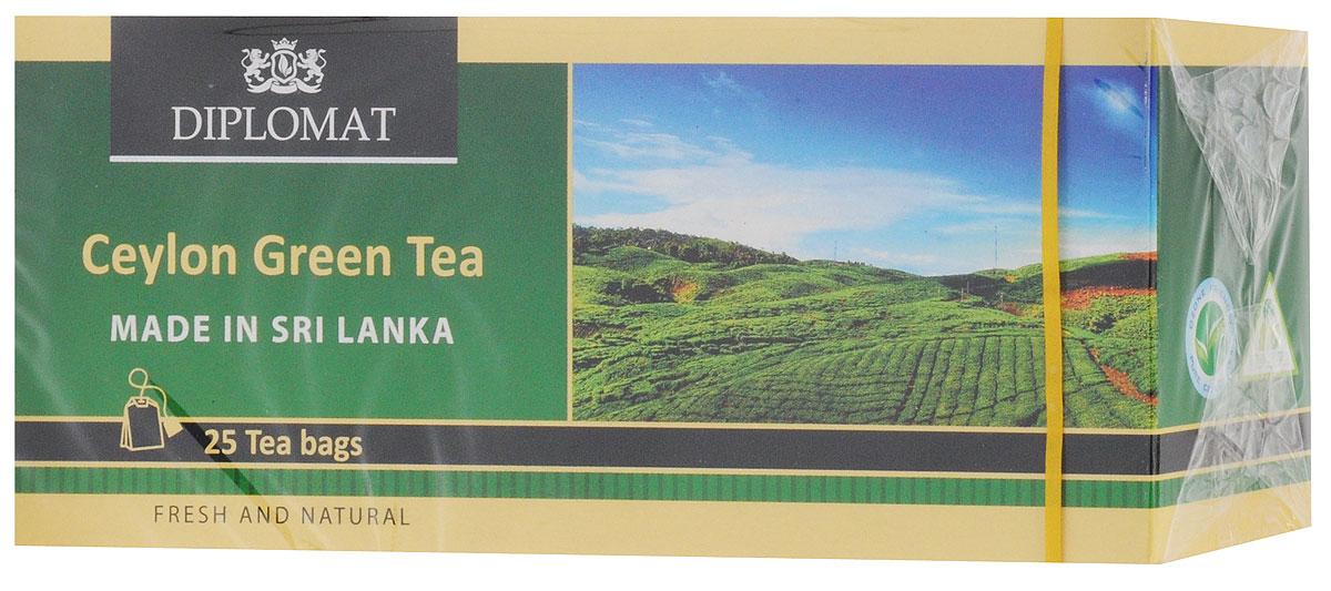 Diplomat Ceylon Green Tea Classic Blend чай зеленый в пакетиках, 25 шт4791007011460Diplomat - классический зеленый чай с неповторимым вкусом и цветочным ароматом с ноткой кислинки.