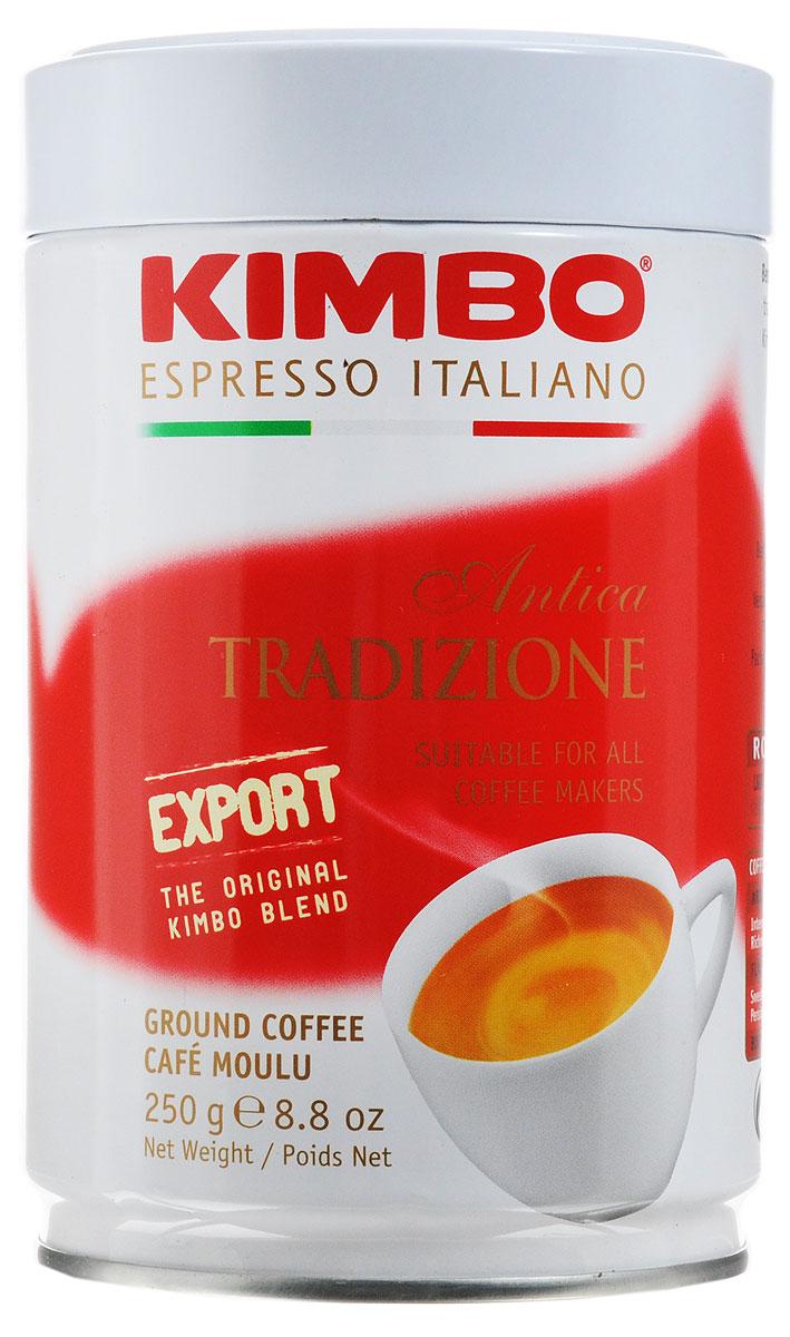 Kimbo Export Antica Tradizione молотый кофе, 250 г8002200101053Кофе Kimbo Export Antica Tradizione с интенсивным ароматом - это смесь превосходной бразильской Арабики и африканской Робусты средней обжарки. Напиток прекрасно подойдет как для бодрого начала утра, так и для поддержания энергии в течение всего дня.