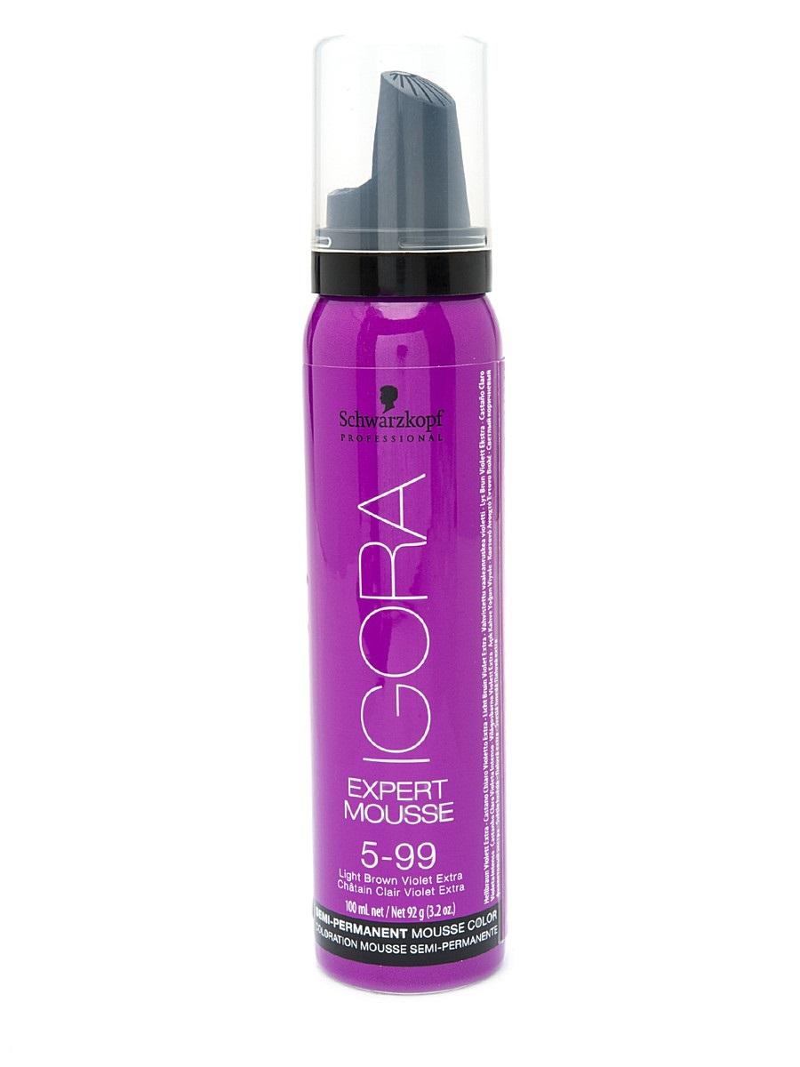 Igora Expert Mousse - Тонирующий мусс 5-99 для волос Светлый коричневый фиолетовый экстра 100 мл1845704/257960Замечательное средство подарит вашим локонам изумительный, глубокий цвет. Продукт позаботится о здоровье волос, укрепив их, сделав крепкими и эластичными. Мусс не проникает в структуру, а лишь обволакивает их и постепенно смывается. Роскошные, ухоженные, с великолепным насыщенным цветом. Крепкие, послушные и шелковистые. Именно такими ваши волосы сделает тонирующий мусс от Schwarzkopf. Замечательное средство подарит вашим локонам изумительный, глубокий цвет. Продукт позаботится о здоровье волос, укрепив их, сделав крепкими и эластичными. Представленный мусс окутает ваши локоны бесподобным цветом. Самое главное, что для этого вам нужно лишь нанести средство на волосы и подождать пять минут. Если желаете получить более насыщенный оттенок – двадцать минут. В отличие от краски для волос, мусс не проникает в структуру, а лишь обволакивает их и постепенно смываетсяПриобретите тонирующий мусс от Schwarzkopf, и он в считанные мгновения подарит вашим волосам роскошный цвет, сделав их еще краше.
