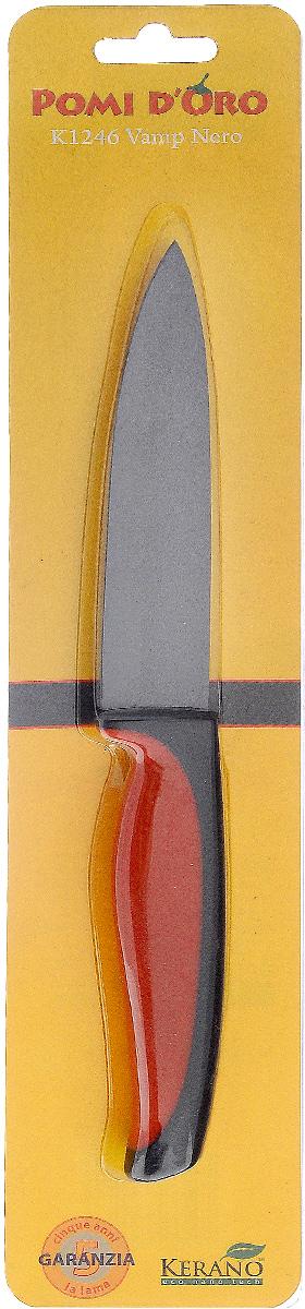 Нож разделочный Pomi dOro Vamp Nero, керамический, длина лезвия 12 см77.858@22004 / K1246 Vamp NeroРазделочный нож Pomi dOro Vamp Nero изготовлен из черной керамики Kerano. Это уникальный керамический нано-материал, который не содержит вредные примеси, в том числе перфтороктановую кислоту (PTFE) и примеси, используемые для легированной стали. Химически нейтрален, не вступает в реакцию с пищей во время готовки. Изделие имеет удобную пластиковую ручку с прорезиненным покрытием. Можно мыть в посудомоечной машине. Длина ножа: 25 см.