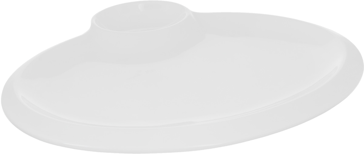 """Блюдо """"Wilmax"""" выполнено из высококачественного фарфора с глазурованным покрытием. Внутри блюда находится соусник. Блюдо """"Wilmax"""" идеально подойдет для сервировки  стола и станет отличным подарком к любому празднику. Можно мыть в посудомоечной машине и использовать в микроволновой печи. Размер блюда по верхнему краю: 30 х 23 см.  высота стенки блюда: 1 см. Размер соусника по верхнему краю: 6 х 9 см. Высота стенки соусника: 3 см."""