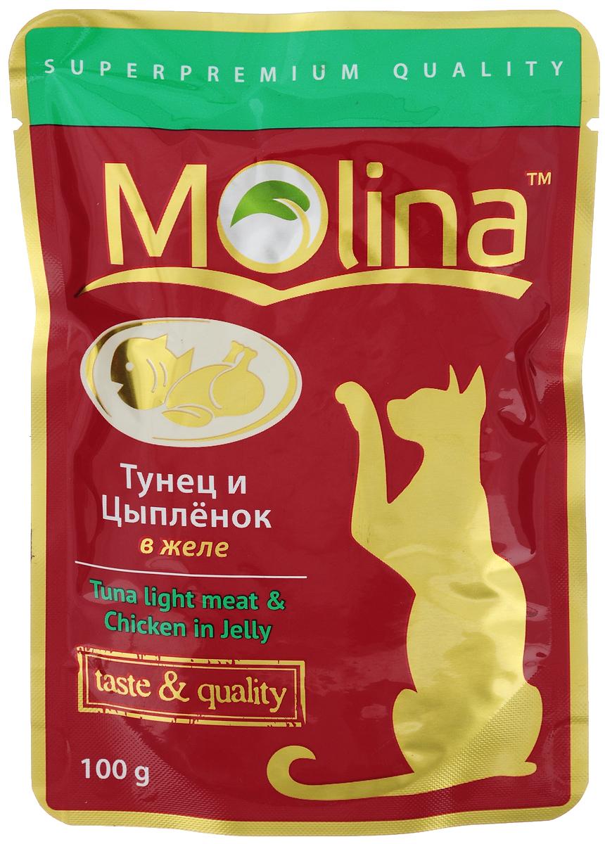 Консервы для кошек Molina, с тунцом и цыпленком в желе, 100 г консервы molina натурально мясо в желе цыпленок и сыр для кошек 80г 0948